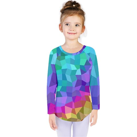 Colorful Multicolored Rainbow Kids  Long Sleeve Tee by AnjaniArt