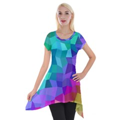 Colorful Multicolored Rainbow Short Sleeve Side Drop Tunic