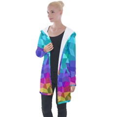 Colorful Multicolored Rainbow Longline Hooded Cardigan by AnjaniArt