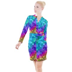 Colorful Multicolored Rainbow Button Long Sleeve Dress