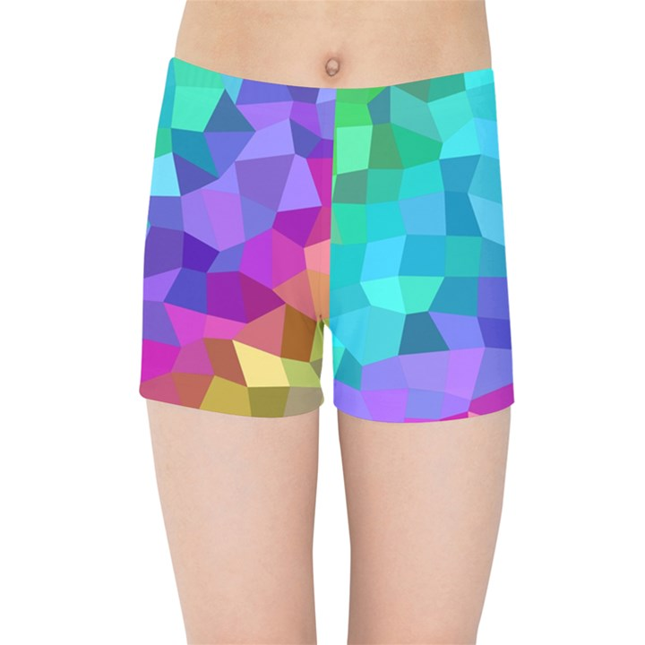Colorful Multicolored Rainbow Kids  Sports Shorts