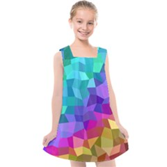 Colorful Multicolored Rainbow Kids  Cross Back Dress by AnjaniArt
