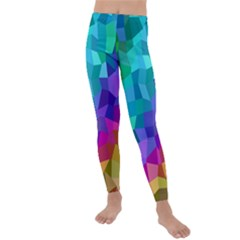 Colorful Multicolored Rainbow Kids  Lightweight Velour Leggings by AnjaniArt