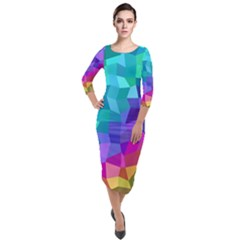 Colorful Multicolored Rainbow Quarter Sleeve Midi Velour Bodycon Dress by AnjaniArt