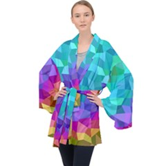 Colorful Multicolored Rainbow Velvet Kimono Robe