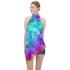 Colorful Multicolored Rainbow Halter Asymmetric Satin Top by AnjaniArt