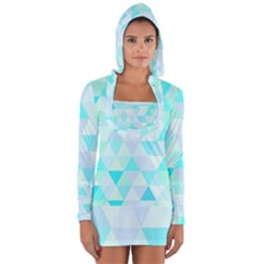 Blue Abstract Pattern Long Sleeve Hooded T-shirt by AnjaniArt