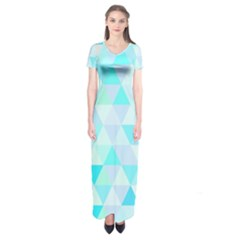 Blue Abstract Pattern Short Sleeve Maxi Dress