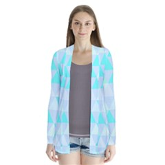 Blue Abstract Pattern Drape Collar Cardigan by AnjaniArt
