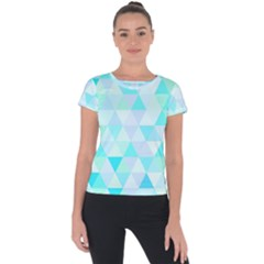 Blue Abstract Pattern Short Sleeve Sports Top  by AnjaniArt