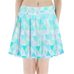 Blue Abstract Pattern Pleated Mini Skirt by AnjaniArt