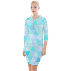Blue Abstract Pattern Quarter Sleeve Hood Bodycon Dress by AnjaniArt