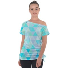 Blue Abstract Pattern Tie Up Tee