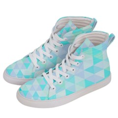 Blue Abstract Pattern Women s Hi Top Skate Sneakers by AnjaniArt