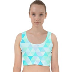 Blue Abstract Pattern Velvet Racer Back Crop Top by AnjaniArt