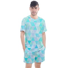 Blue Abstract Pattern Men s Mesh Tee And Shorts Set