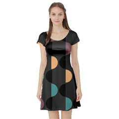 Abstract Background Modern Short Sleeve Skater Dress