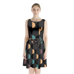 Abstract Background Modern Sleeveless Waist Tie Chiffon Dress