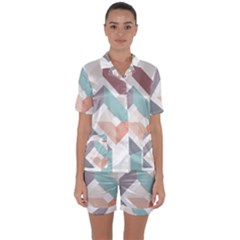 1  Rhombus Geometry  Abstract Satin Short Sleeve Pyjamas Set by Jojostore