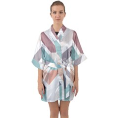 1  Rhombus Geometry  Abstract Quarter Sleeve Kimono Robe