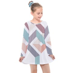 1  Rhombus Geometry  Abstract Kids  Long Sleeve Dress