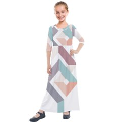 1  Rhombus Geometry  Abstract Kids  Quarter Sleeve Maxi Dress by Jojostore