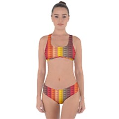 Abstract Pattern Background Plaid Criss Cross Bikini Set by Jojostore