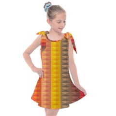 Abstract Pattern Background Plaid Kids  Tie Up Tunic Dress