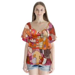 Abstract Line V Neck Flutter Sleeve Top