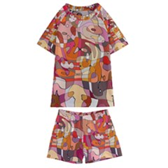 Abstract Line Kids  Swim Tee And Shorts Set