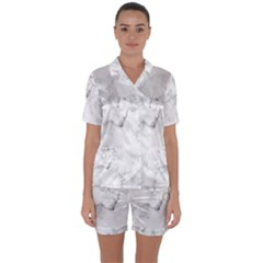 Background Abstract Watercolor White Satin Short Sleeve Pyjamas Set by Jojostore
