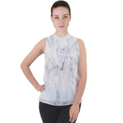 Background Abstract Watercolor White Mock Neck Chiffon Sleeveless Top by Jojostore