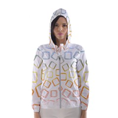 Abstract Geometric Squares Radial Hooded Windbreaker (women)