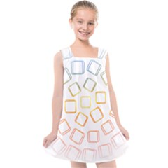 Abstract Geometric Squares Radial Kids  Cross Back Dress by Jojostore