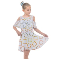 Abstract Geometric Squares Radial Kids  Shoulder Cutout Chiffon Dress