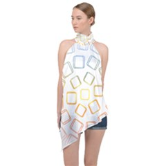 Abstract Geometric Squares Radial Halter Asymmetric Satin Top by Jojostore