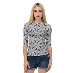 Abstract Seamless Pattern Spiral Quarter Sleeve Raglan Tee