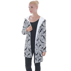 Abstract Seamless Pattern Spiral Longline Hooded Cardigan by Jojostore