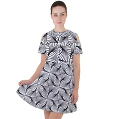 Abstract Seamless Pattern Spiral Short Sleeve Shoulder Cut Out Dress  by Jojostore