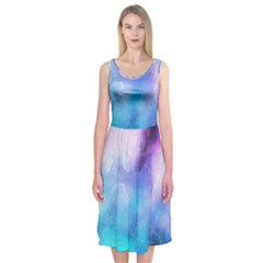 Background Abstract Watercolor Midi Sleeveless Dress by Jojostore