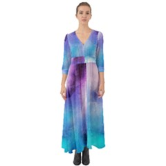 Background Abstract Watercolor Button Up Boho Maxi Dress by Jojostore
