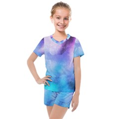 Background Abstract Watercolor Kids  Mesh Tee And Shorts Set