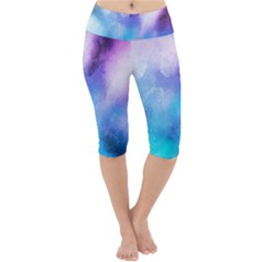 Background Abstract Watercolor Lightweight Velour Cropped Yoga Leggings