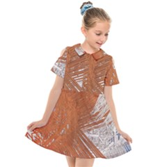 Abstract Lines Background Kids  Short Sleeve Shirt Dress