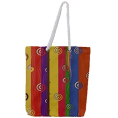 Abstract  Rainbow Full Print Rope Handle Tote (large)