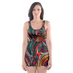 Abstract Art Stained Glass Skater Dress Swimsuit by Jojostore