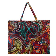 Abstract Art Stained Glass Zipper Large Tote Bag