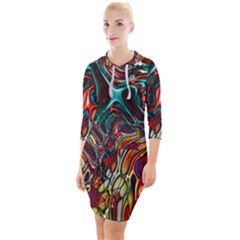Abstract Art Stained Glass Quarter Sleeve Hood Bodycon Dress by Jojostore
