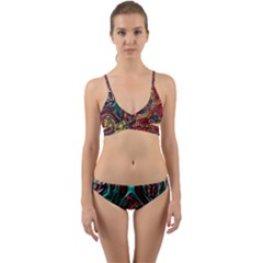 Abstract Art Stained Glass Wrap Around Bikini Set