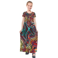 Abstract Art Stained Glass Kids  Short Sleeve Maxi Dress by Jojostore